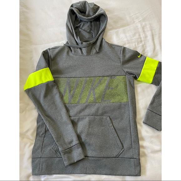 Gray Nike Hoodie with Neon Yellow Band